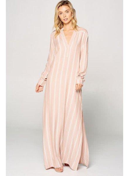 Tripoli Mandarin Collar Long Sleeve Maxi Dress