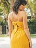 Cuiaba Embroidered Cotton Tie Back Midi Dress | Mustard