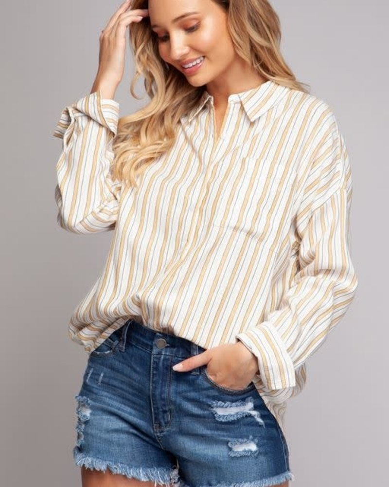 eceed110d6bde0 Long Sleeve Mustard Woven Blouse - Thelma & Thistle