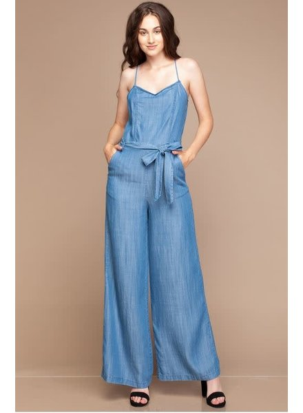 Medium Blue Wide Leg Jumpsuit