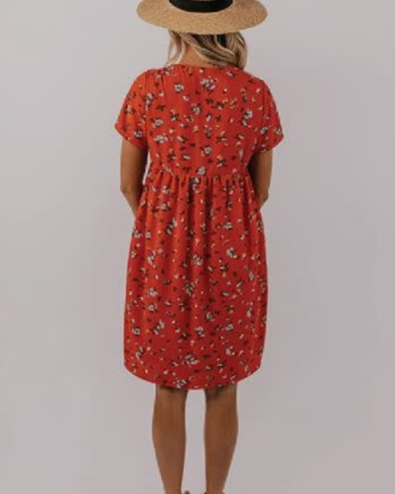 Red Floral Midi