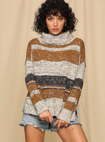 Multi Stripe Turtleneck Sweater