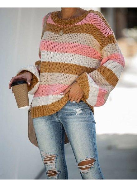 Stripe Dolman Knit | Pink