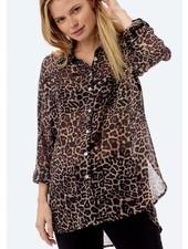 Chiffon Leopard Button Down
