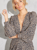 Statement Sleeve Leopard Wrap Dress