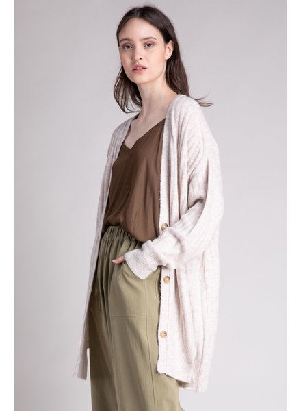 Bottom Slit Rib Knit Cardigan