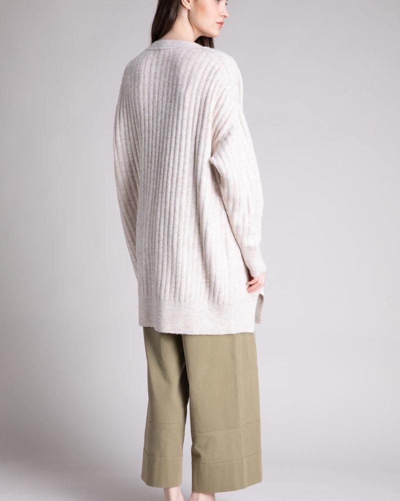 Bottom Slit Rib Knit Cardigan