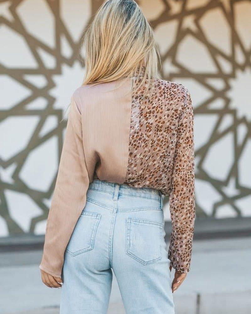 Animal Print Mix Bodysuit | Stone