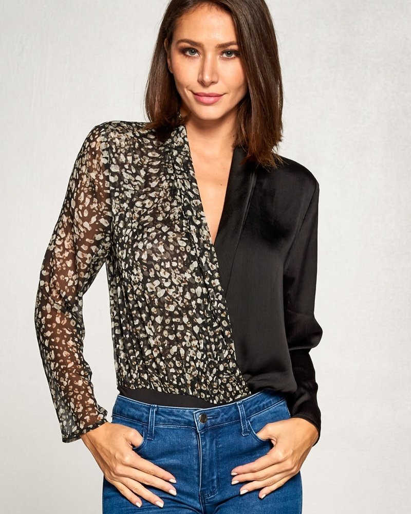 Animal Print Mix Bodysuit | Black