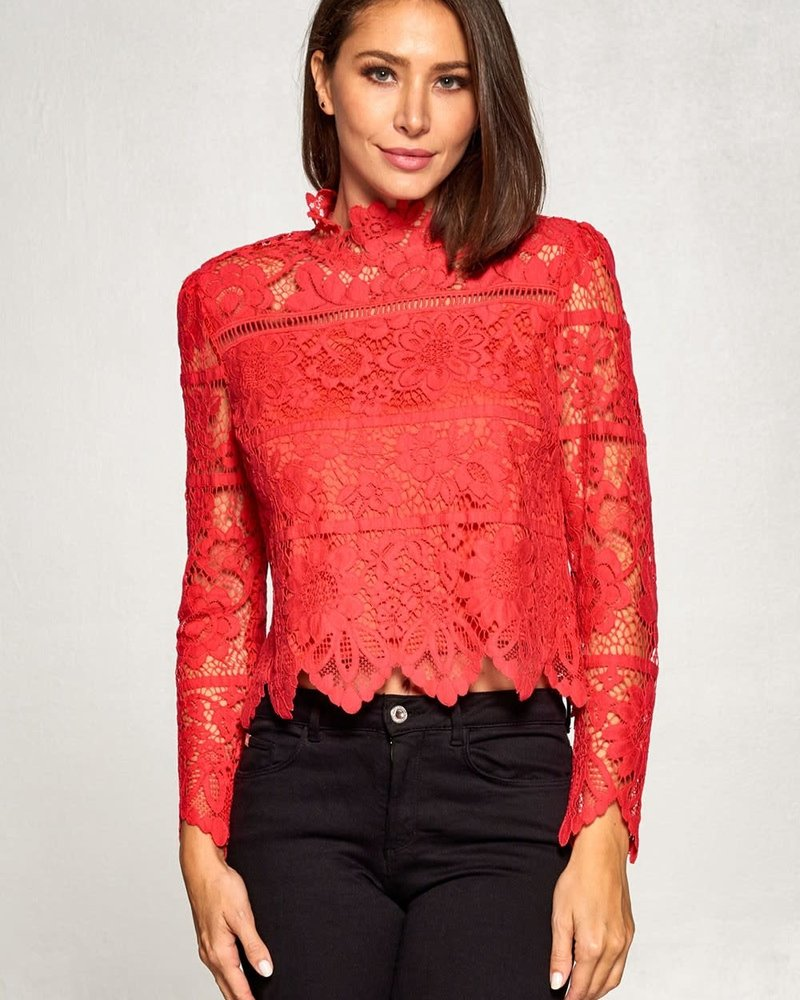Frankie Lace Top | Red