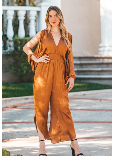Copper Smocked Waist Jumpsuit