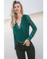 Scallop Lace long Sleeve Bodysuit   Green