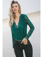 Scallop Lace long Sleeve Bodysuit | Green