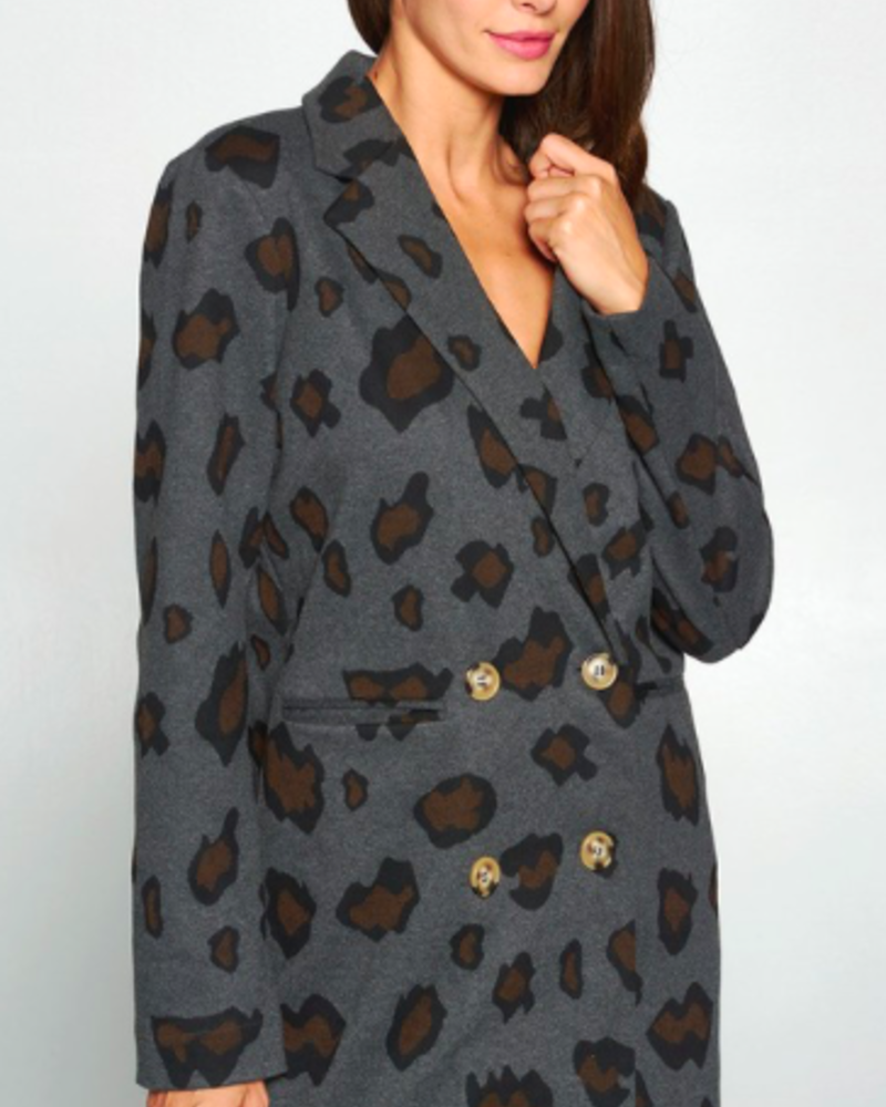Leopard Oversized Knit Jacket