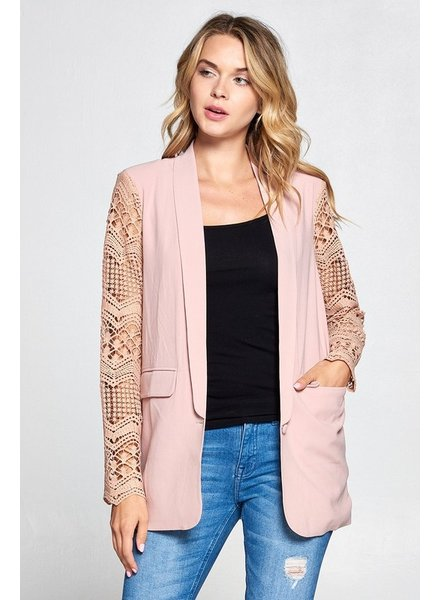 Boyfriend Lace Sleeve Blazer | Blush