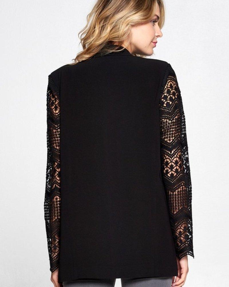 Boyfriend Lace Sleeve Blazer | Black