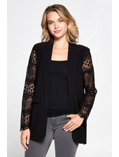 Boyfriend Lace Sleeve Blazer | Black
