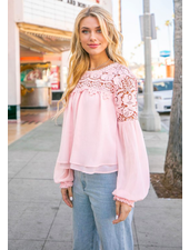 Sara Lace Trimmed Blouse | Blush