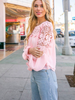 Sara Lace Trimmed Blouse | Blush