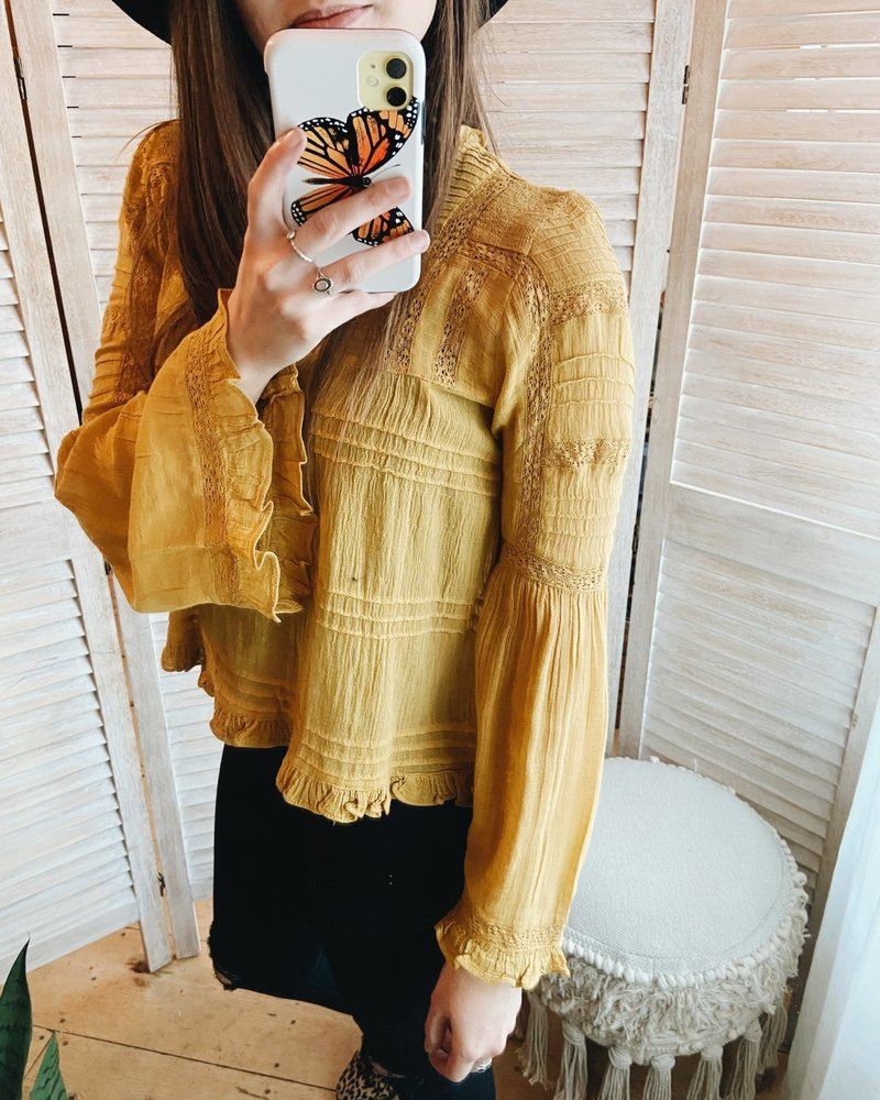 Free People Olivia Blouse | Mustard