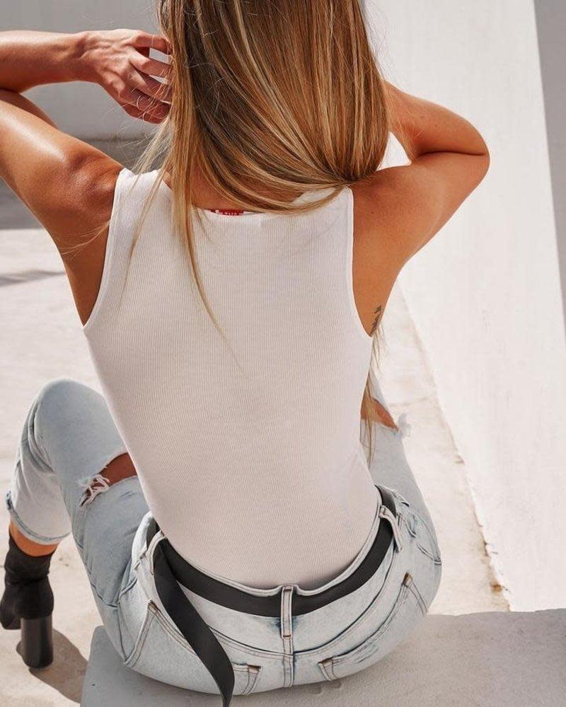 Crew Neck Bodysuit | White