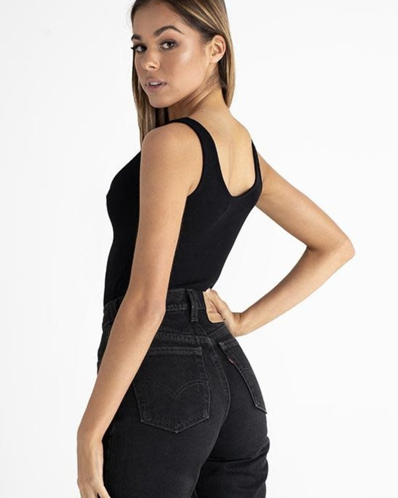 Scoop Neck Button Down Bodysuit | Black