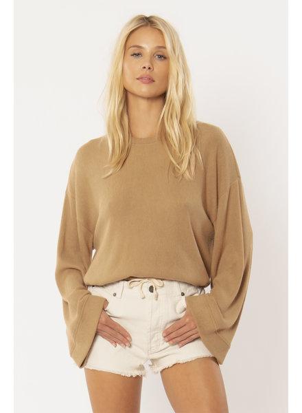 Cosi Long Sleeve Fleece Top | Mocha