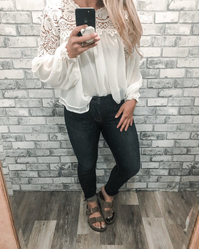 Sara Lace Trimmed Blouse | Ivory
