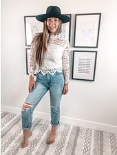 Frankie Lace Top   White
