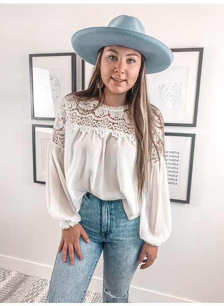 Sara Lace Trimmed Blouse   Ivory