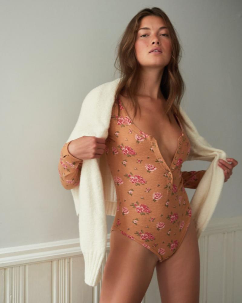 Free People Dylan Thermal Printed Bodysuit | Tan