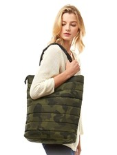 Camouflage Pattern Puffer Quilted Tote Bag