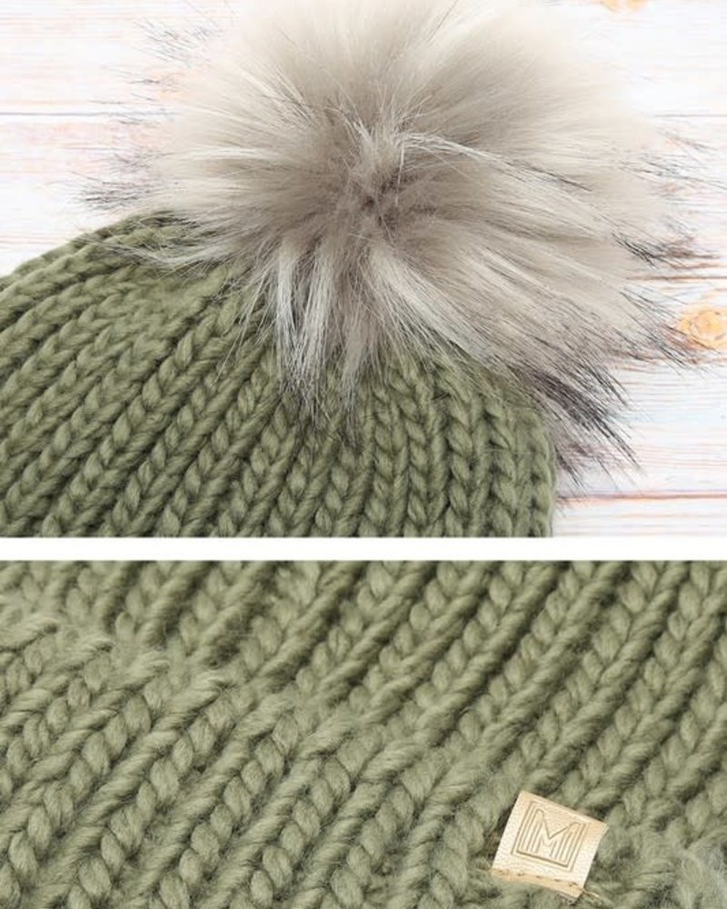 Ribbed Knitted Pom Beanie | Sage