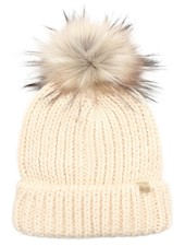 Ribbed Knitted Pom Beanie | Oatmeal