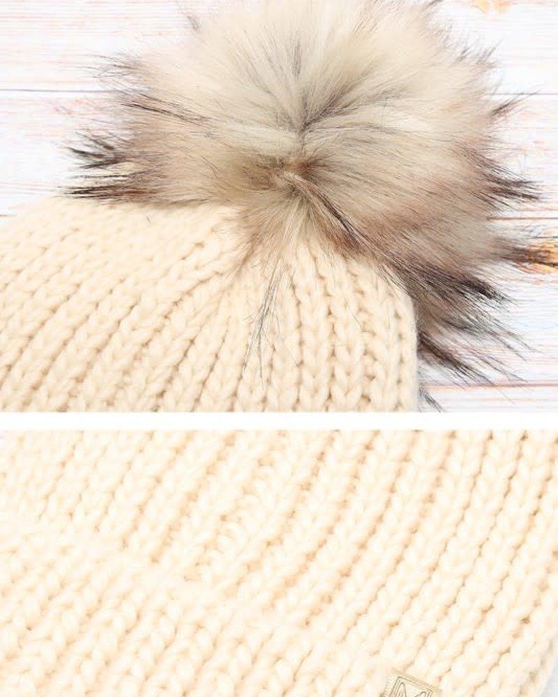 Ribbed Knitted Pom Beanie | Oatmeal