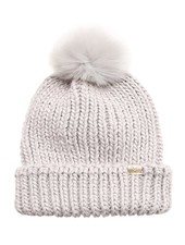 Ribbed Knitted Pom Beanie | Light Grey