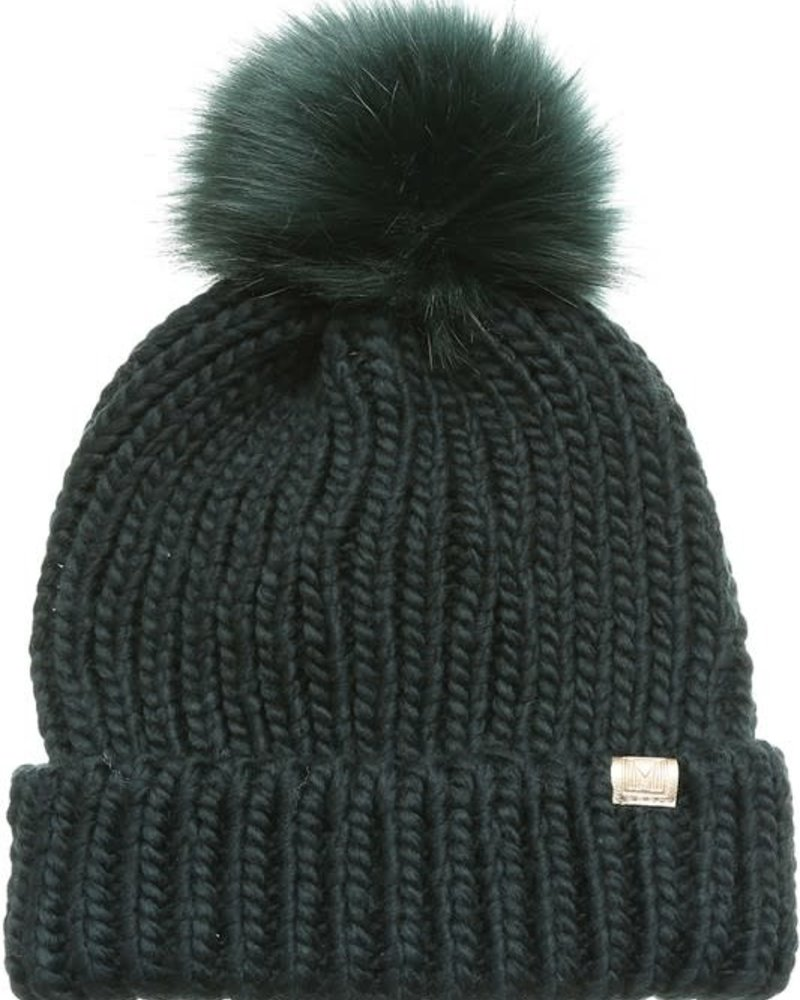 Ribbed Knitted Pom Beanie | Green