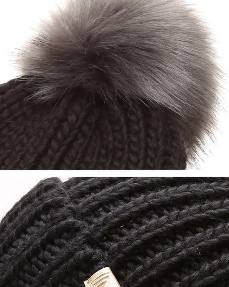 Ribbed Knitted Pom Beanie | Black