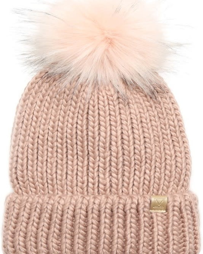 Ribbed Knitted Pom Beanie | Blush