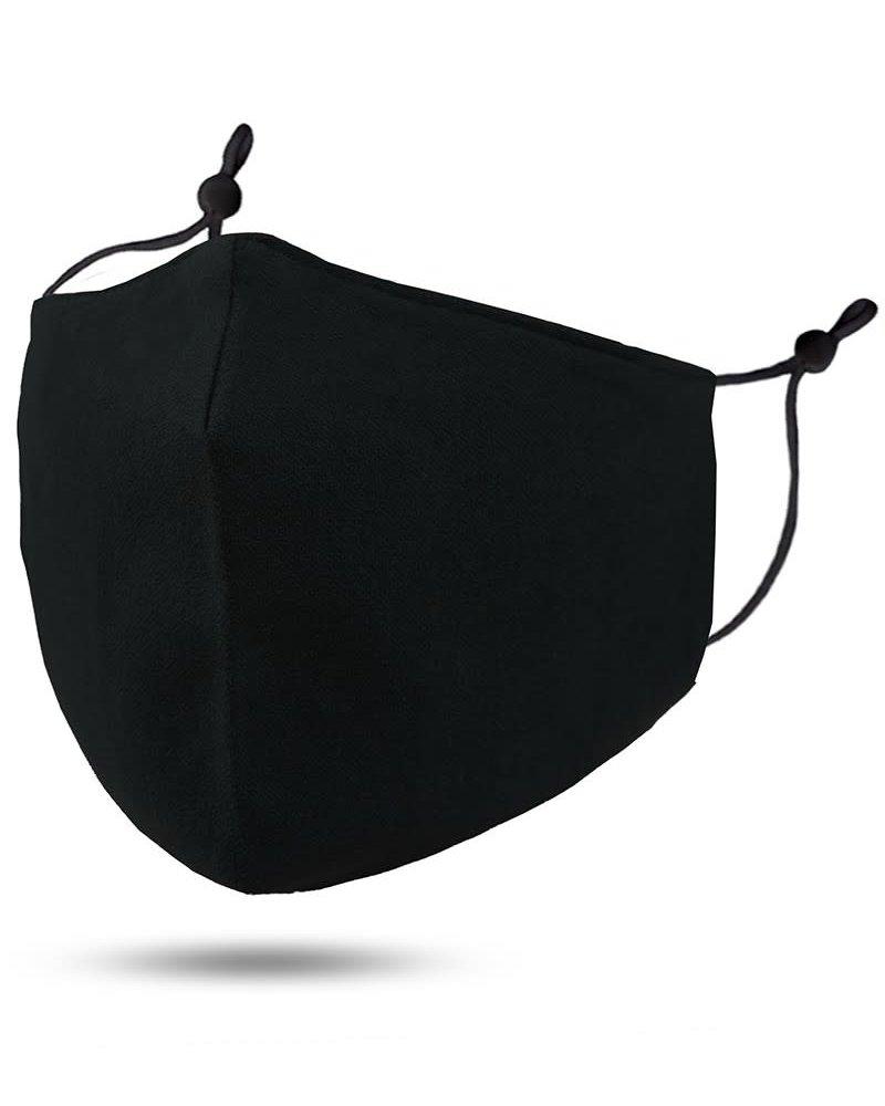 Soft Lining Cotton Mask w Filter Pocket | Black