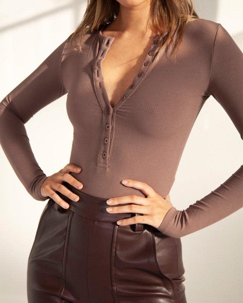 Long Sleeve Crew Neck Bodysuit | Brown