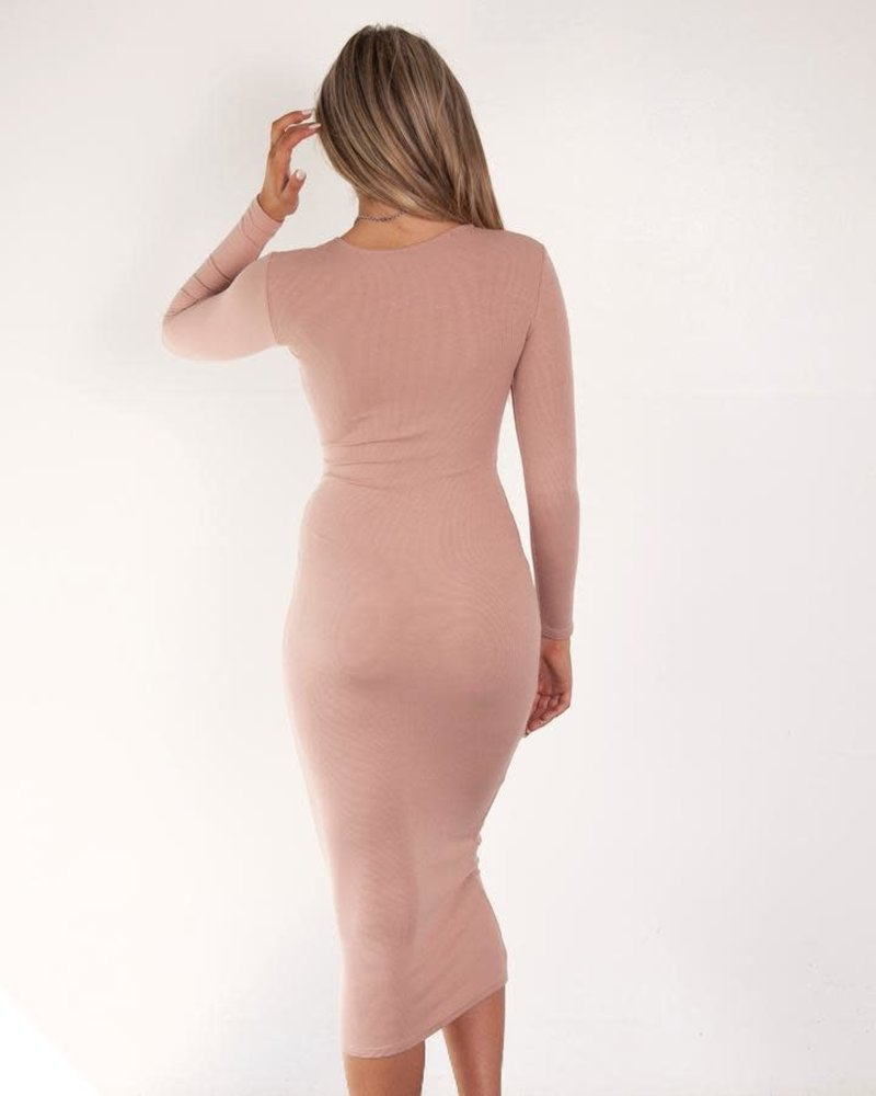 Long Sleeve Knit Dress | Nude