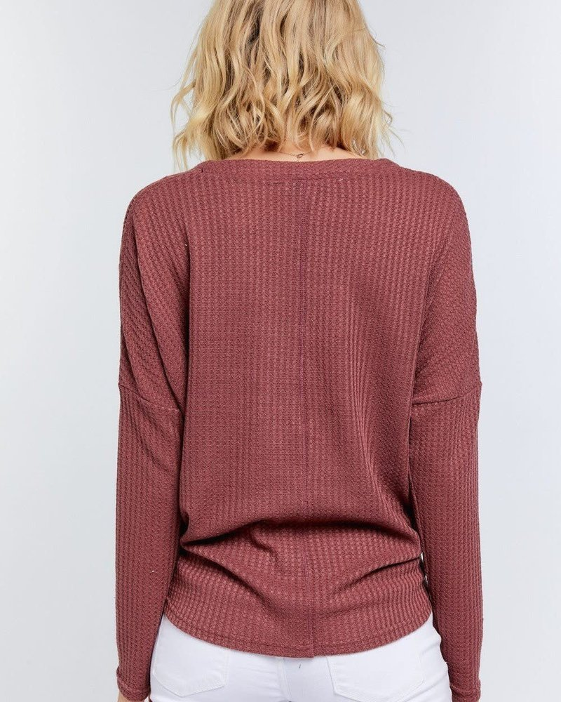Lace Detailed Henley Top | Redwood