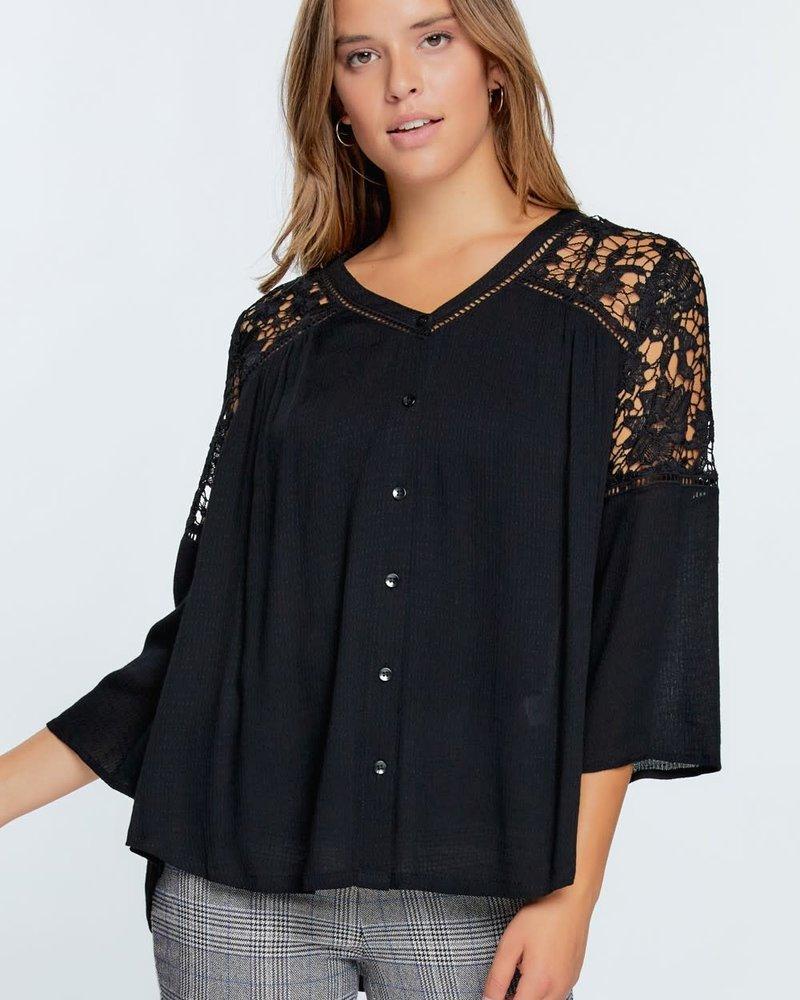 Floral Crochet Woven Top | Black