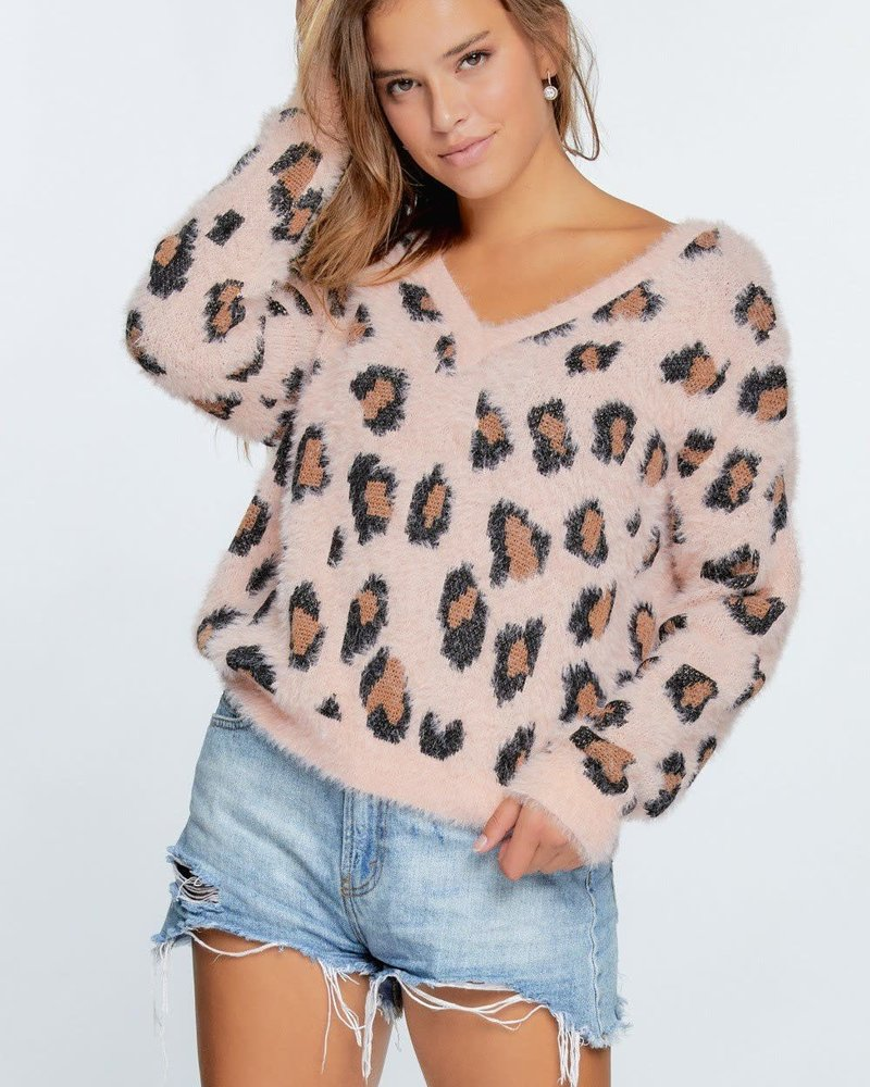 Animal Print Peach Pullover