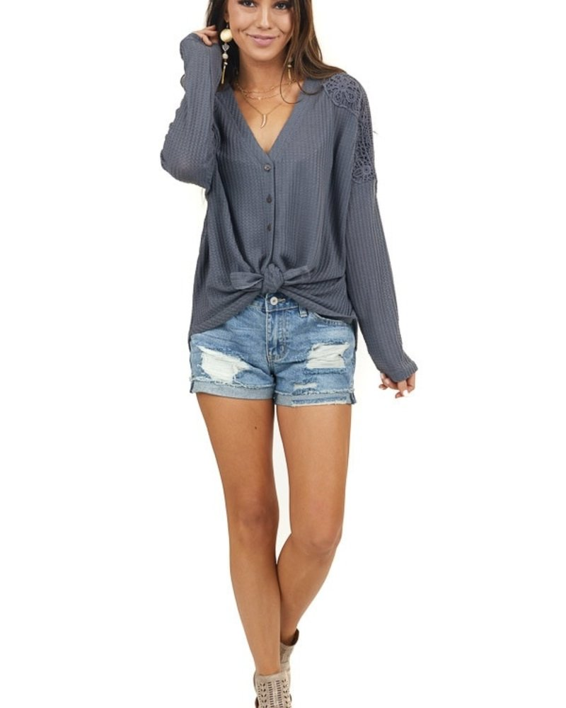 Lace Detailed Henley Top | Grey