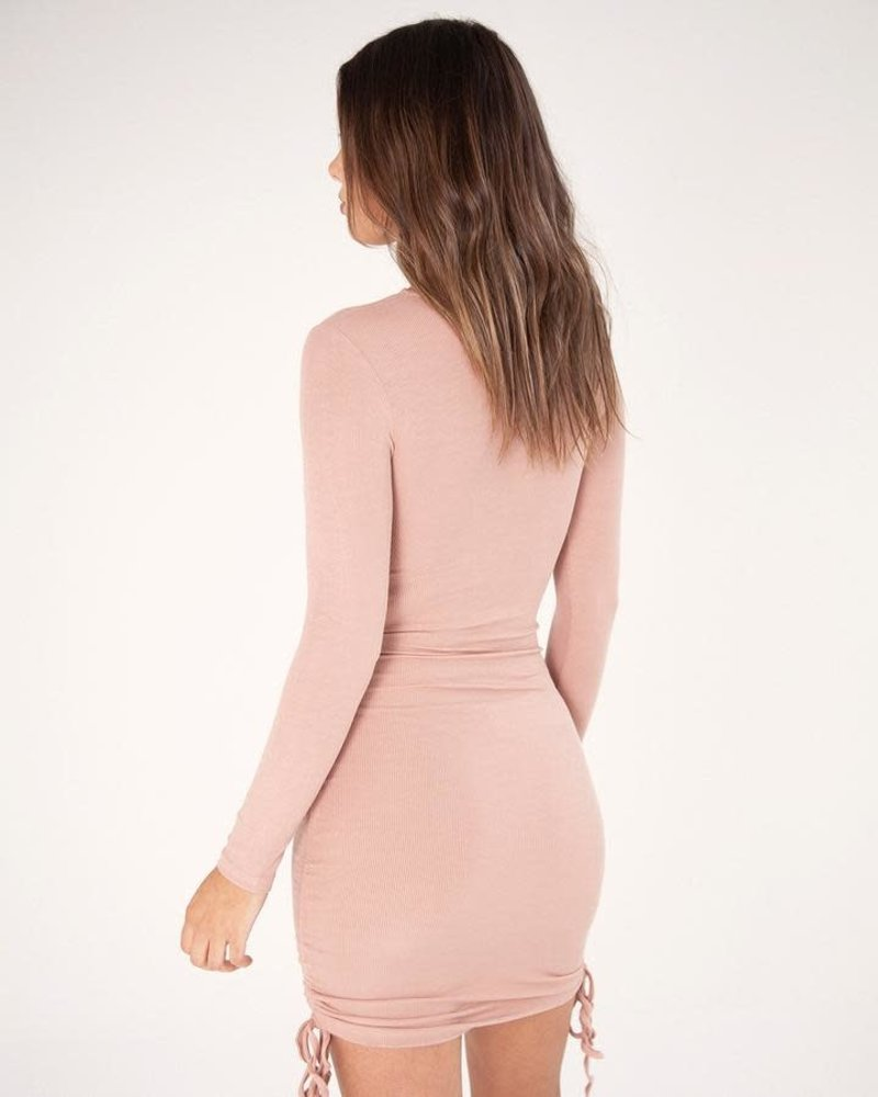 Gathered Mini Dress | Nude