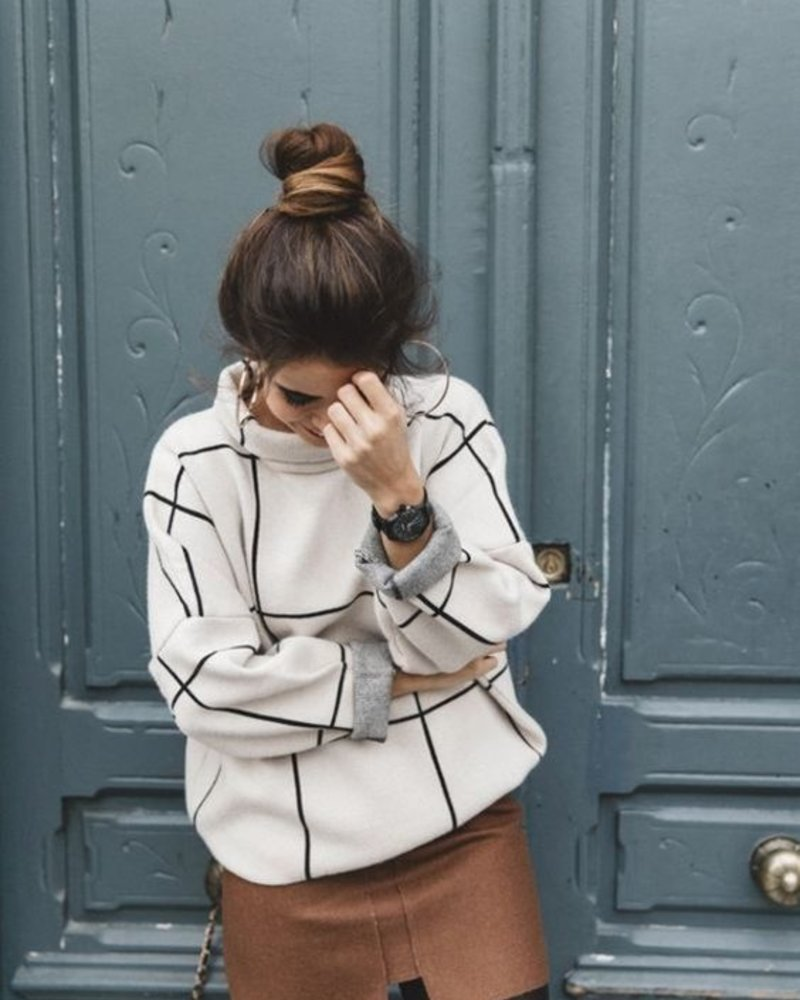 Grid Turtleneck Sweater | Cream