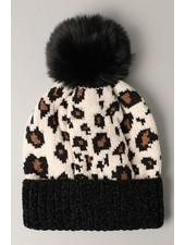 Leopard Pattern Chenille Beanie | Black