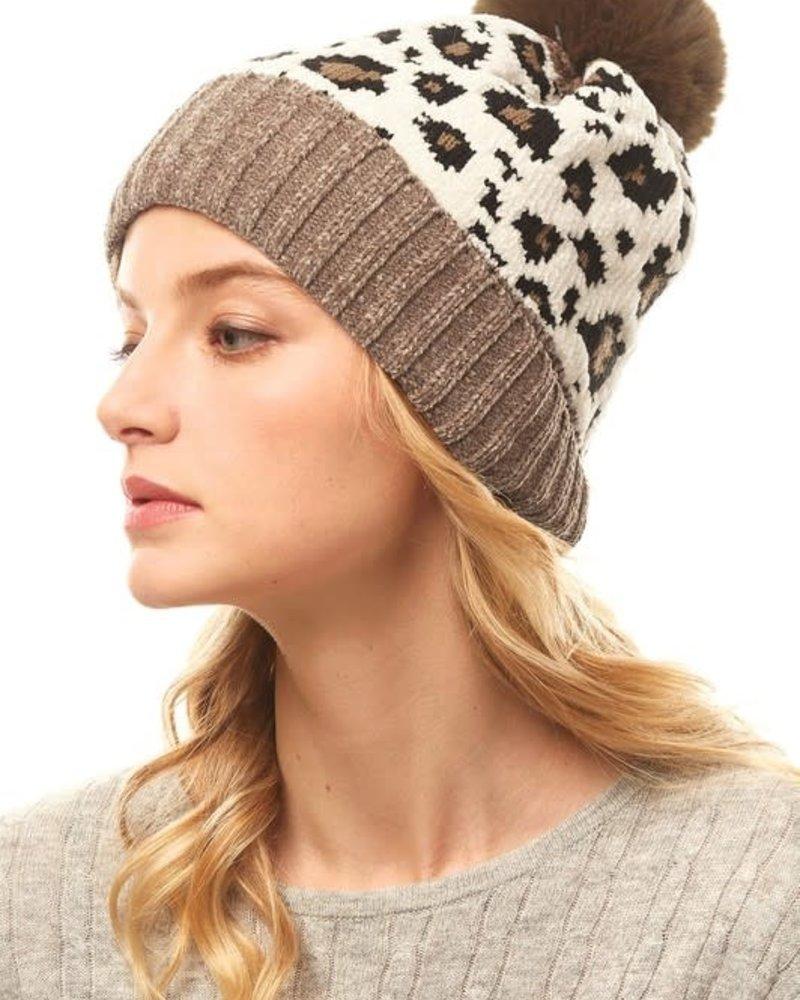 Leopard Pattern Chenille Beanie | Brown